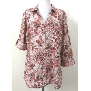 Karen Scott XL Button Down Blouse Cotton V-Neck